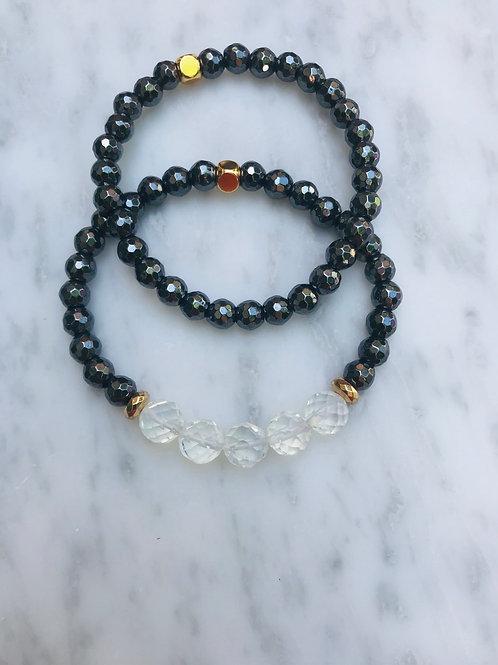 Opalite & Black Hematite Bracelet Stack