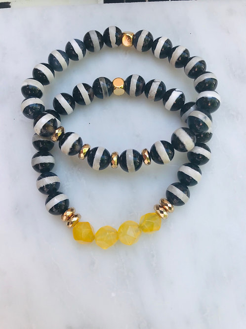 Yellow Jade & Tibetan Stripped Agate