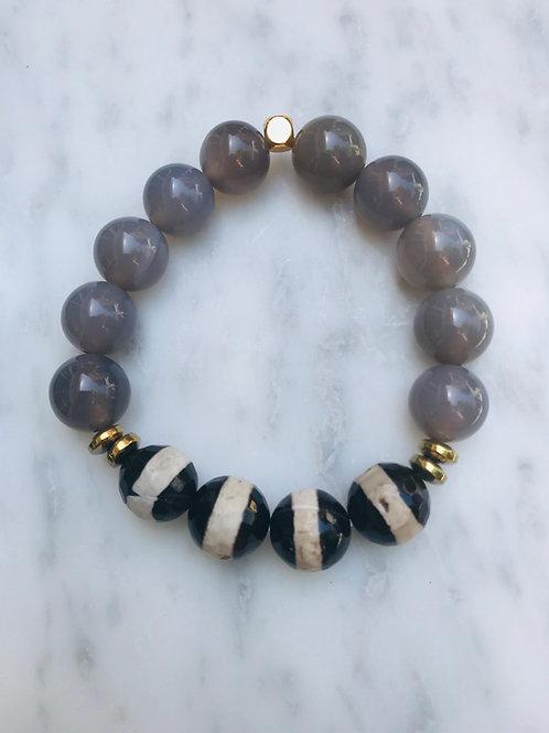 Grey Agate & Tibetan Agate Bracelet