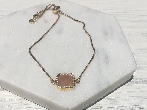 Peach Moonstone Adjustable Bracelet