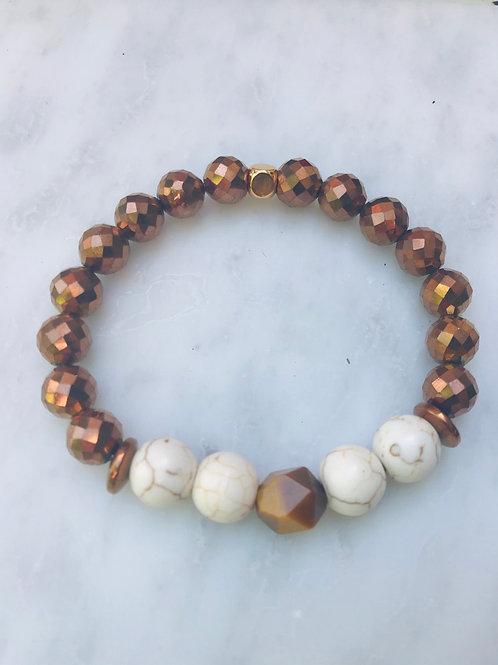 Bronze Hematite , Howlite & Tigers Eye Bracelet