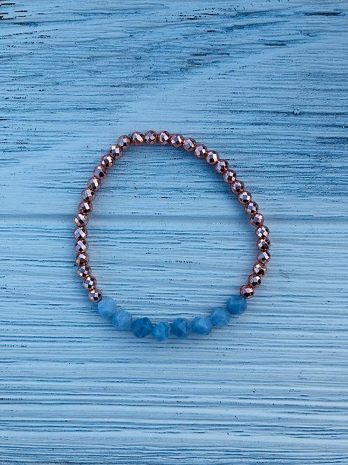 Blue Lace Agate & Pyrite Bracelet