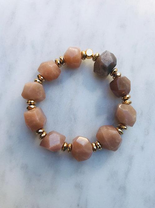 Chunky Peach Moonstone Bracelet