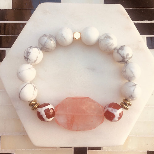 Strawberry Quartz & Howlite Bracelet