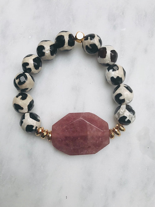 Strawberry Quartz & Tibetan Agate Bracelet