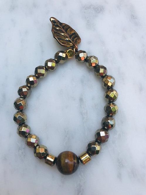 Tigers Eye & Hematite with Leaf Charm Bracelet