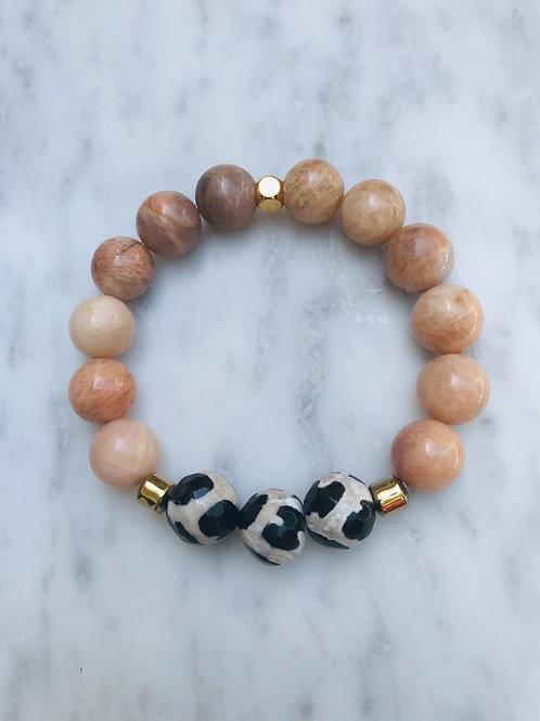 Peach Moonstone & Tibetan Agate