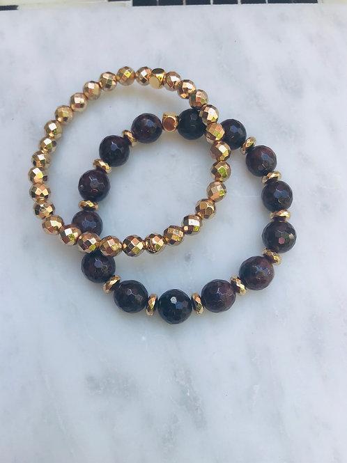 Garnet & Hematite Bracelet Set