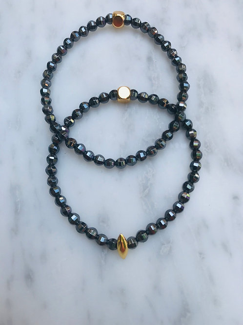 Black Hematite & Gold Center Bracelet Stack