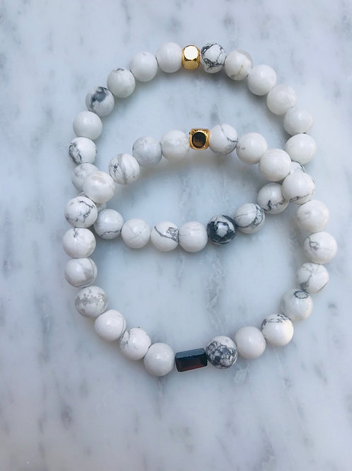 Howlite & Black Hematite Center Bracelet Stack