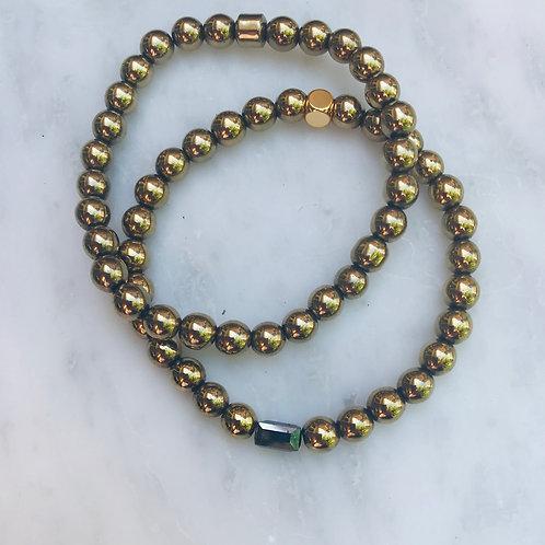Hematite with Black Hematite Bracelet Set