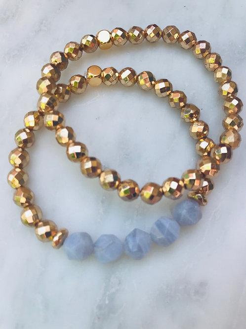 Blue Lace Agate & Hematite Bracelet Set