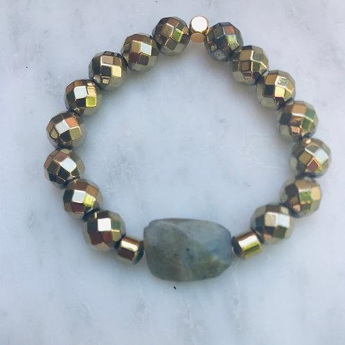 Labradorite Center & Hematite Bracelet