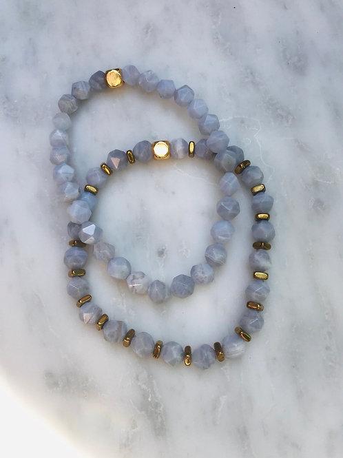 Blue Lace Agate Bracelet stack set