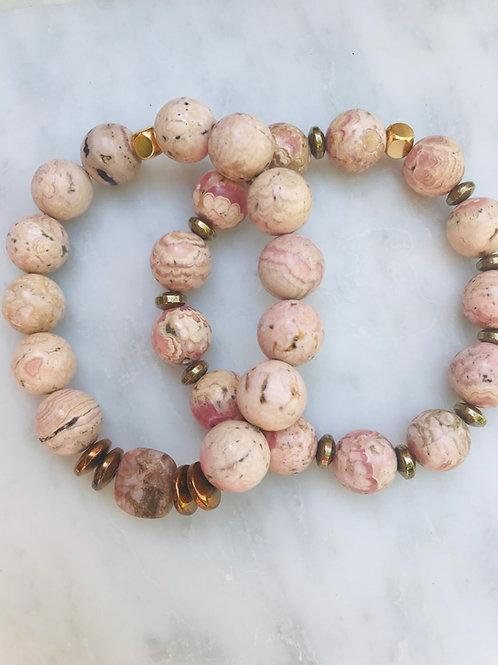 Rhodochrosite Bracelet Set