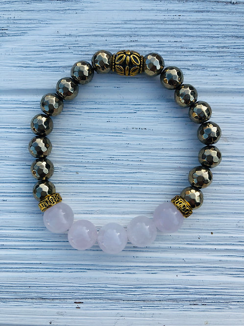 Goddess Pyrite & Rose Quartz Bracelet