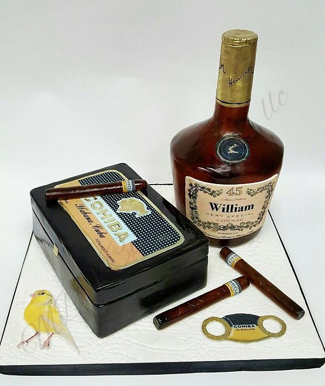 Cohiba Cigars and Hennessy Bottle Ca