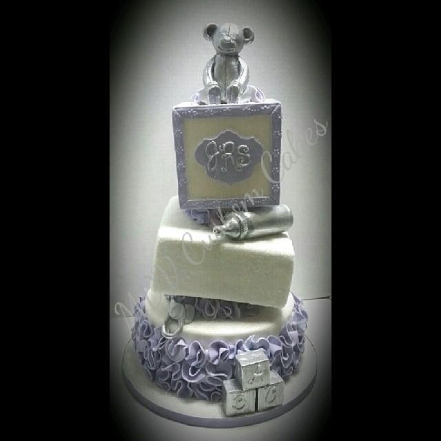 Topsy Turvy Baby Shower Blocks Cake