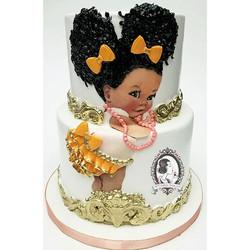 Afro Puff Baby Girl Cake