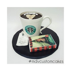 Starbucks Coffee Cup and Book_#mdvcustomcakes #mdvcustomcakeboutique #starbucks #sculptedcake #water