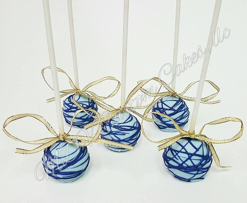 Blue Drizzle Cake Pops