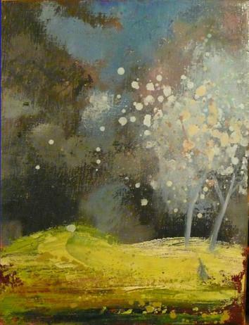Haiku d'hiver 41 x 33 cm huile sur toile collection particulière