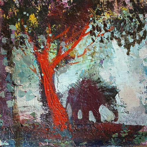 Arbre rouge et éléphanteau Huile sur toile carton entoilé