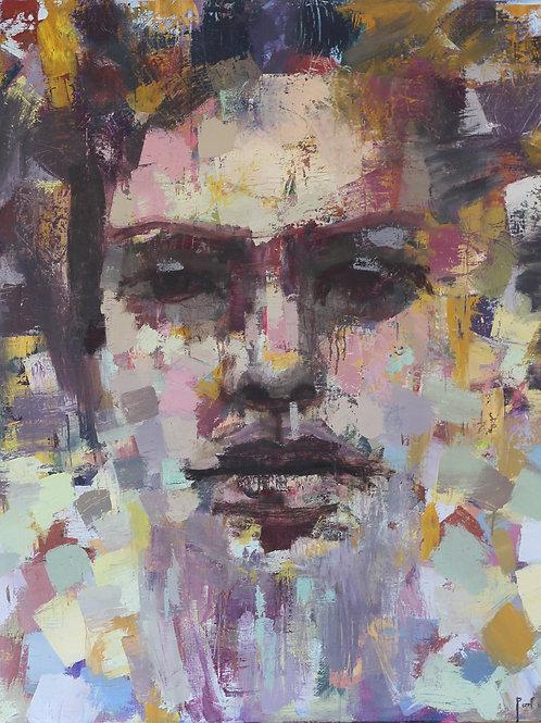 Visage 120 x 100 cm huile sur toile