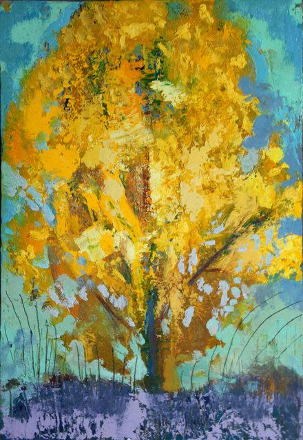 Peuplier 35 x 22 cm huile sur toile