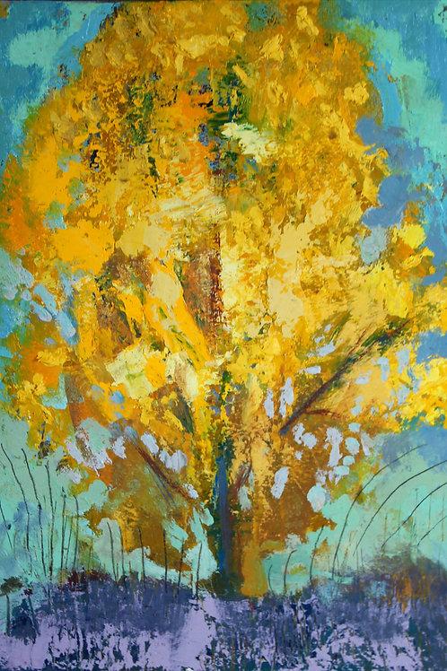 Peuplier jaune 35 x 22 cm huile sur toile
