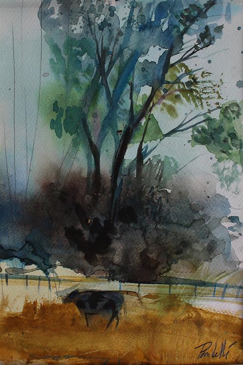La vache aquarelle sur papier