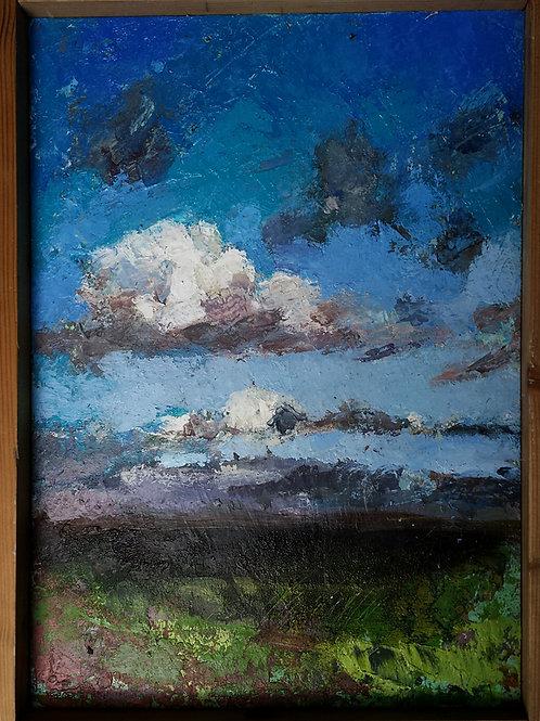 CIEL 30 x 24 cm Huile sur carton entoilé