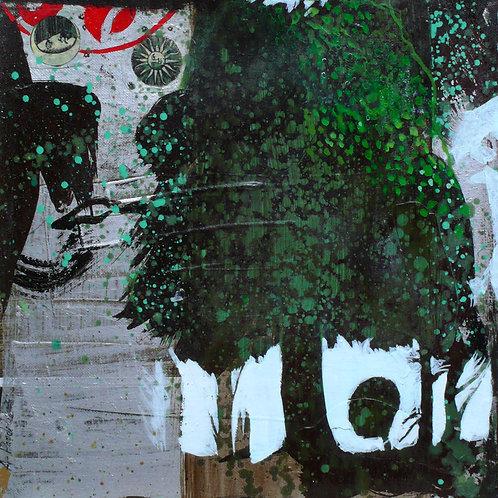 Mes nuits solitaires 30 x30 cm Acrylique et collage sur toile