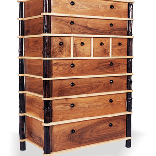 English Walnut and Sycamore chest of drawers