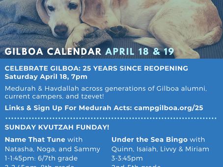 Gilboa Activities April 18 & 19 - Celebrate 25 Years, Kvutzah Activities