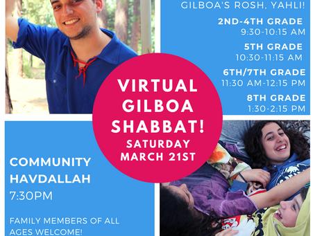 Join Gilboa's Virtual Shabbat Saturday March 21st!