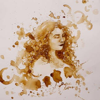 """""""I am Arte"""" by Dulce López. Coffee on white carboard paper."""