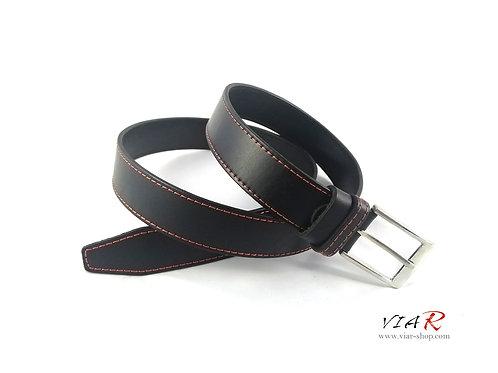 Ремень для брюк с отстрочкой (красный)