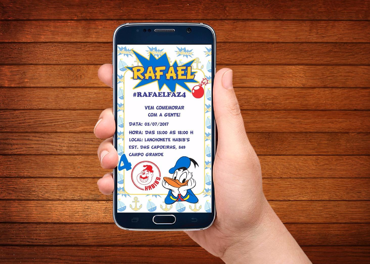Convite Pato Donald