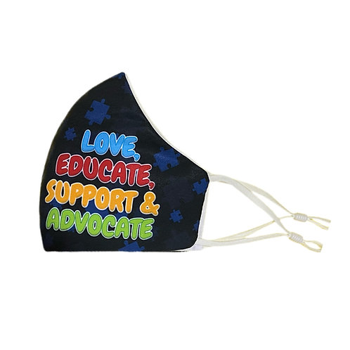 Love Educate Support & Advocate | Reusable Washable Anti Dust Mouth Fa
