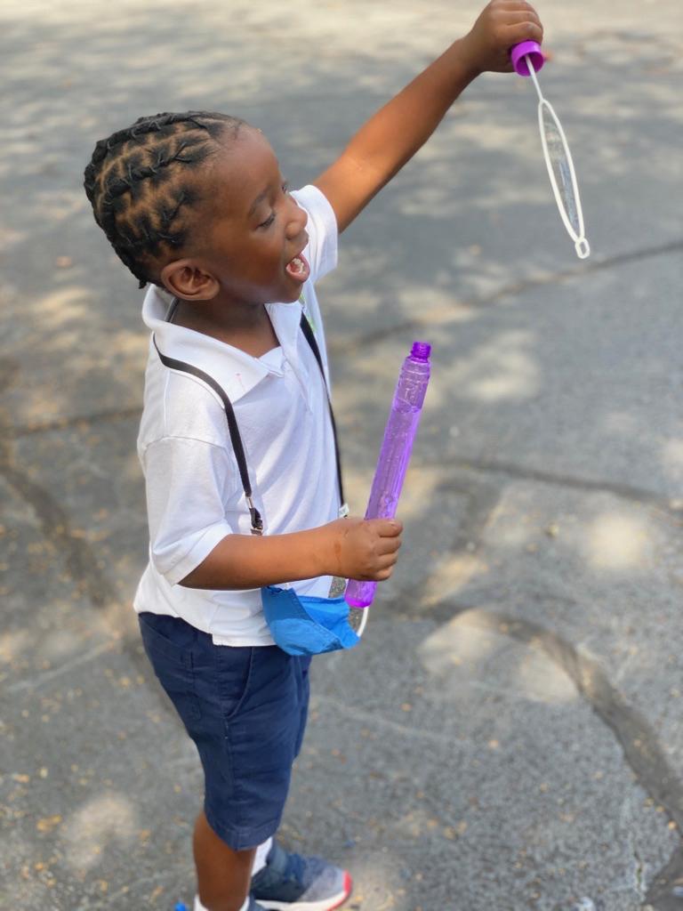 Blowing Bubbles at recess