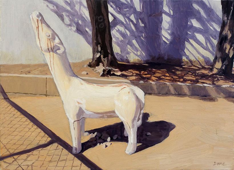 首を上げた馬のある風景  2017 333×242mm Oil on canvas