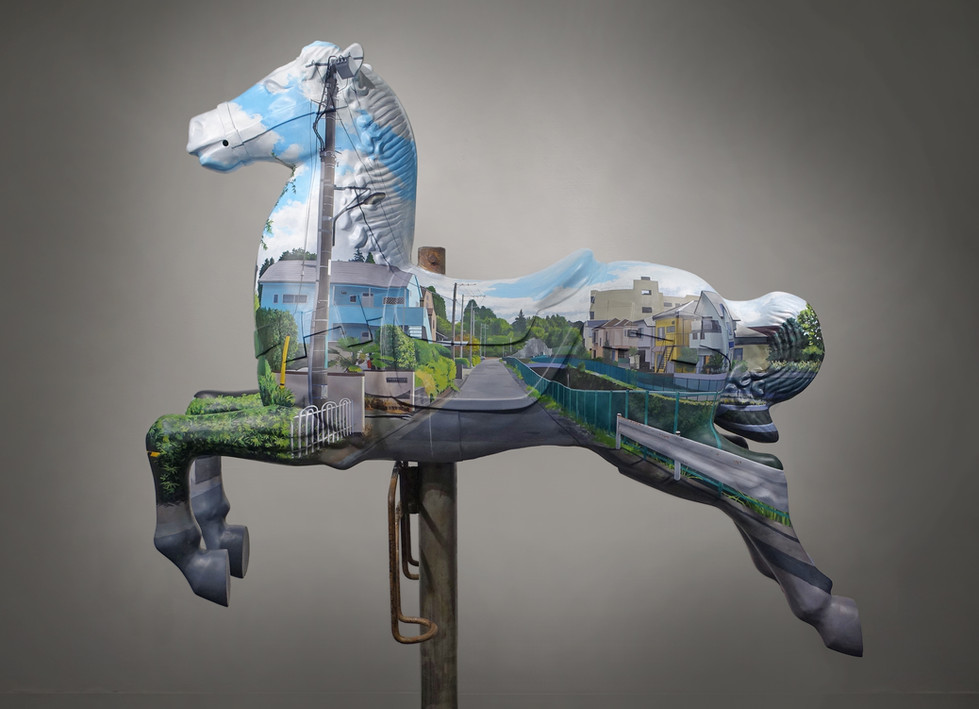 Invisible  2015 1400×1100×400mm Acrylics on Old carousel horse