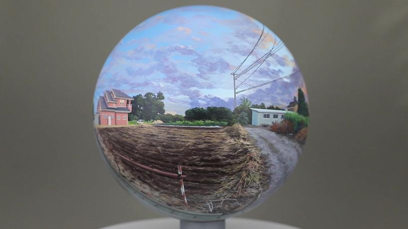 Flatball 2019 No.02  2019 φ17cm  Acrylic paint, acrylic resin