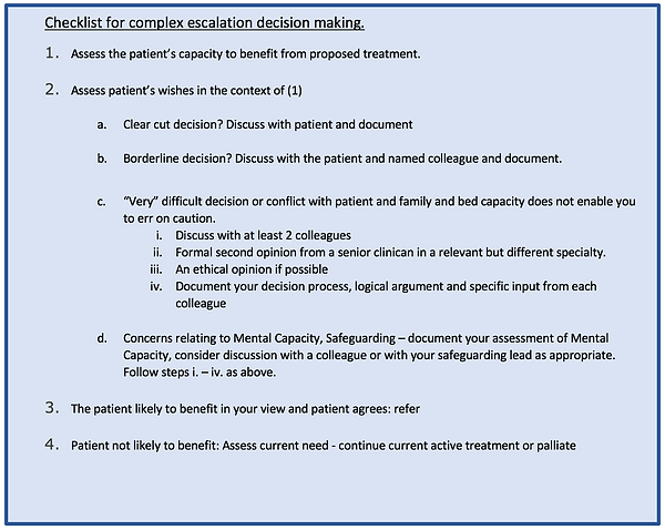 Checklist for complex escalation decisio