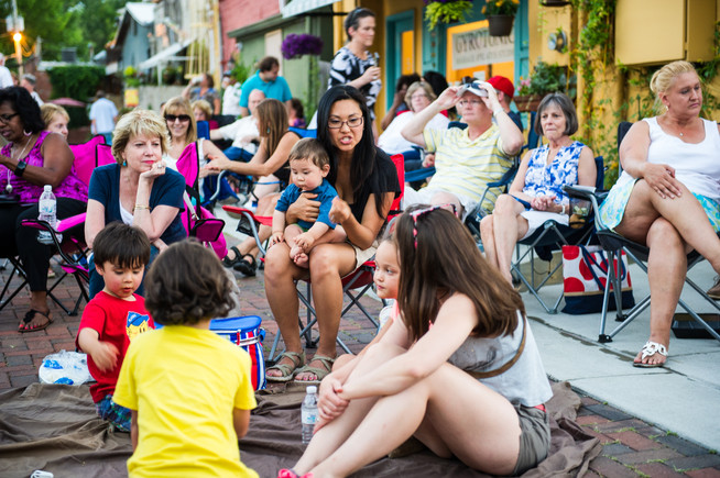 Community members gather for Jazz in the Alley.