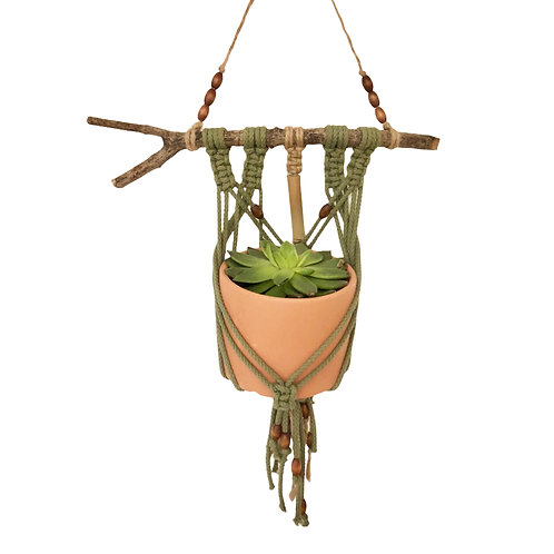 Organic cotton macrame and bamboo plant hanger