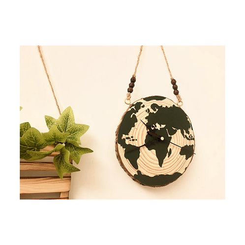 Wood slice clock hanger with hand painted globe design