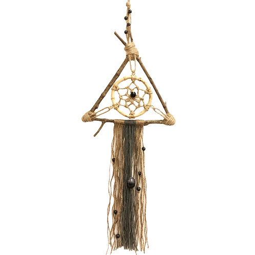 Tree branch dream catcher with bamboo beaded detail