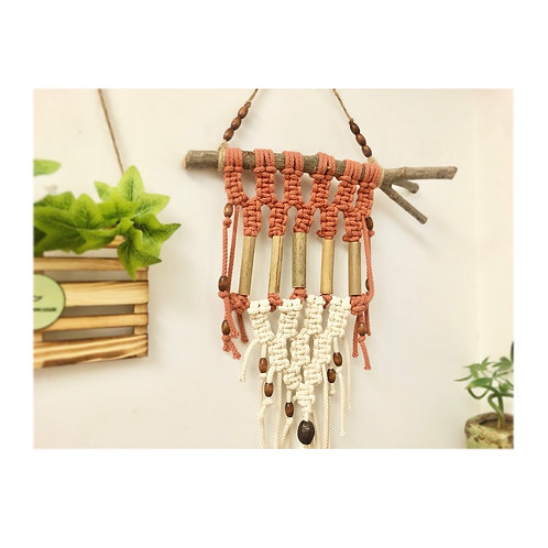 Organic cotton macrame wall hanger with natural bamboo